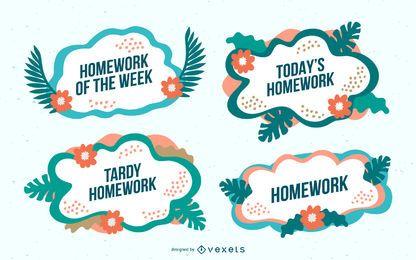 Conjunto de vetores de lição de casa tropical