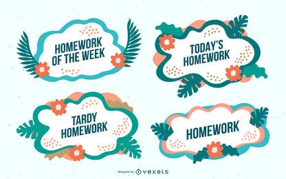 Tropical homework vector set