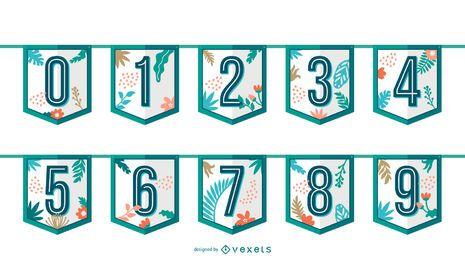 Conjunto de números de guirnaldas tropicales