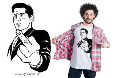 Mann, der weg vom T-Shirt Entwurf leicht schlägt