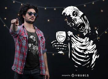 Design de t-shirt de elogio de zumbi