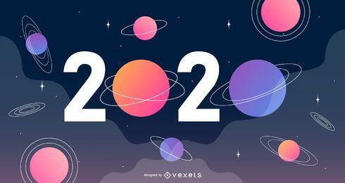 Vetor de banner espacial de ano novo de 2020