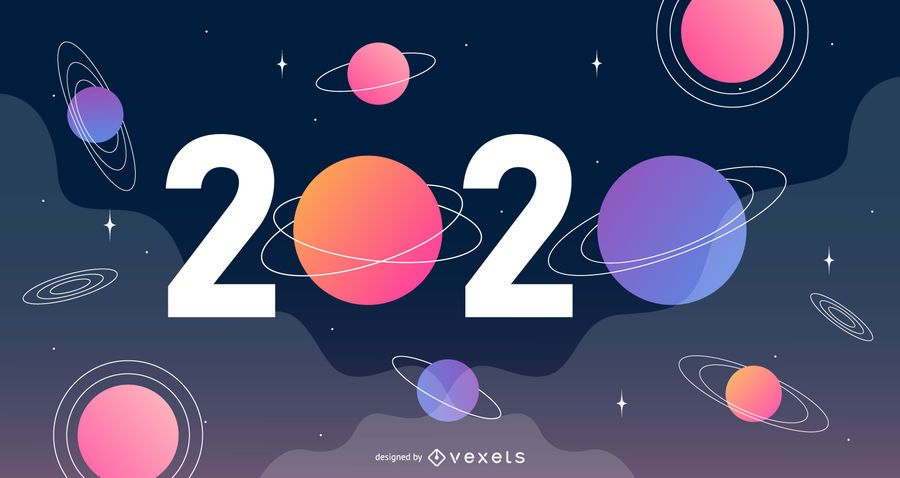 New Year 2020 Space Banner Vector