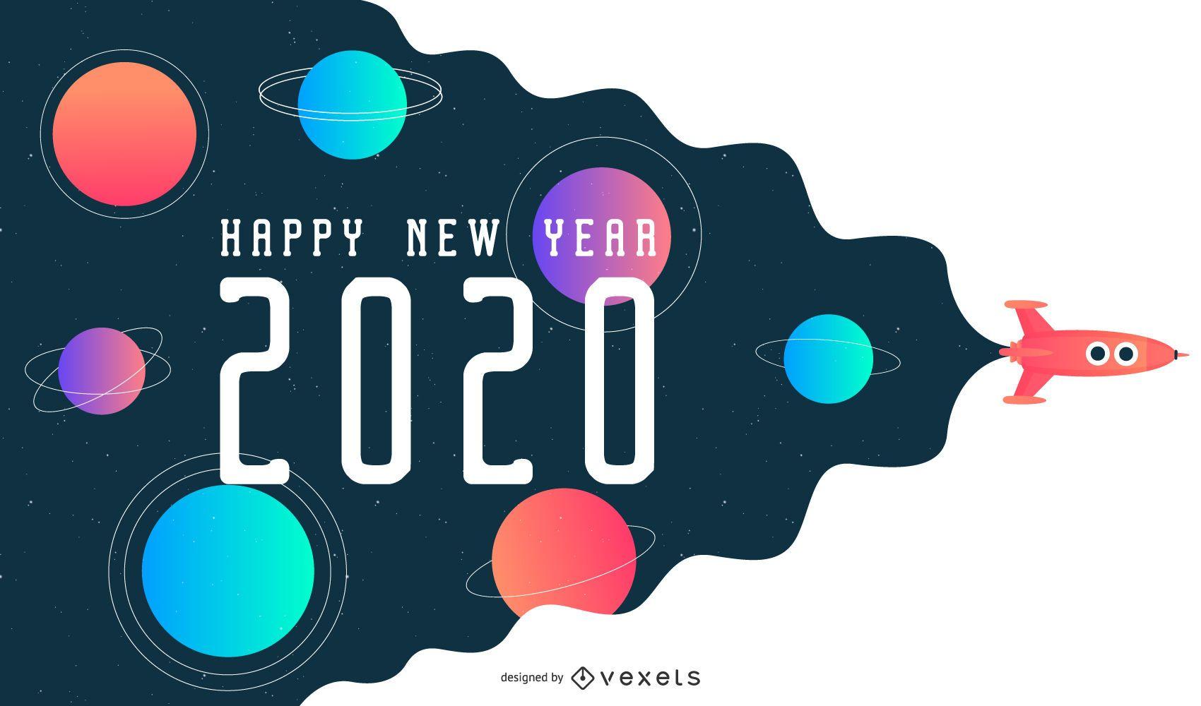 Feliz año nuevo 2020 diseño de banner espacial