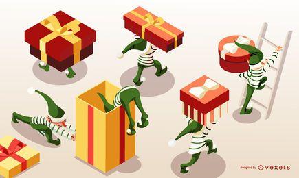 Isometrische Weihnachtselfen Banner Design