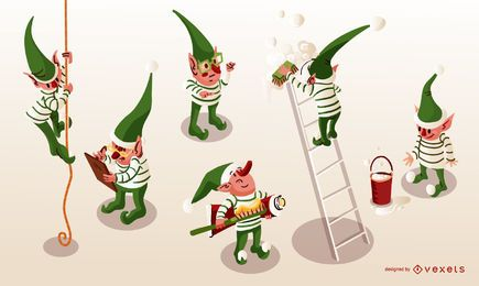 Santa Elves Isometric Vector Pack