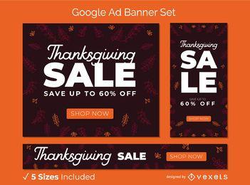 Conjunto de banner de anúncio do Google de venda de ação de graças