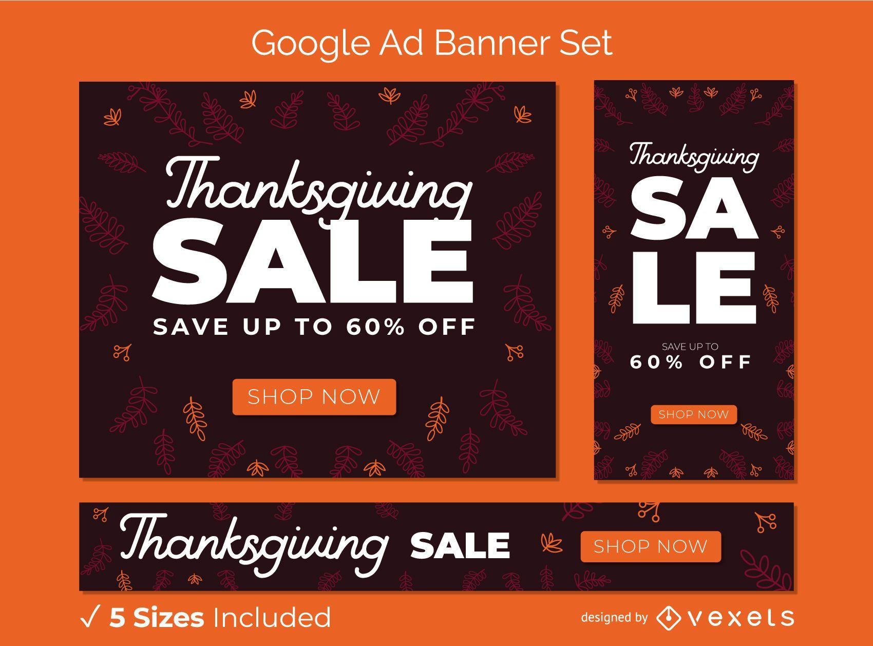 Conjunto de banner de anuncios de Google de venta de acción de gracias