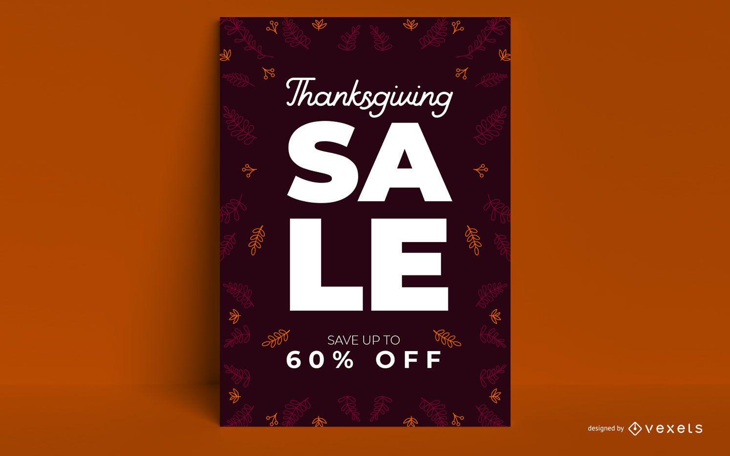 Diseño de cartel de venta de acción de gracias