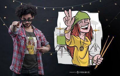 Design feliz do t-shirt do baterista