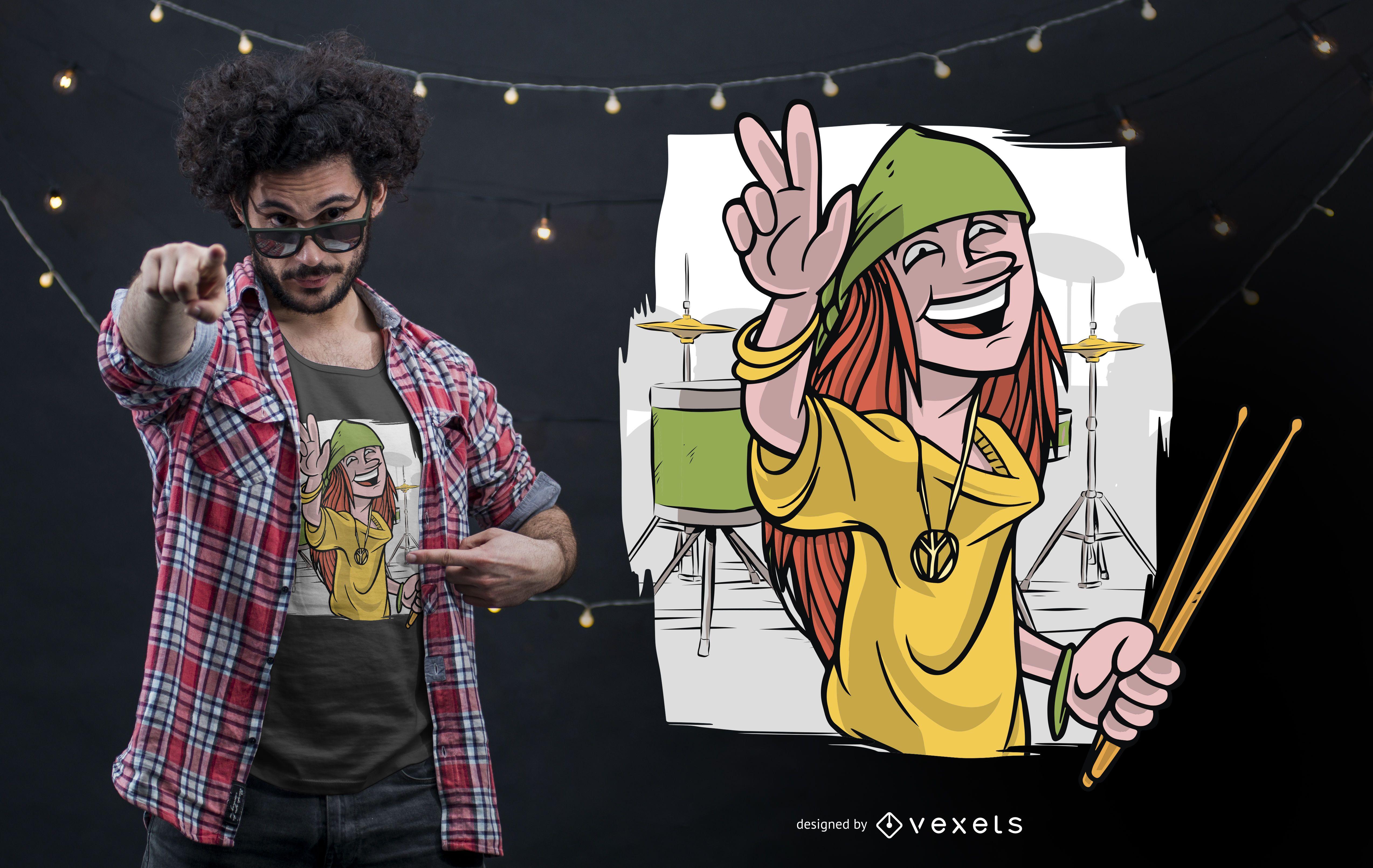 Happy Drummer T-shirt Design