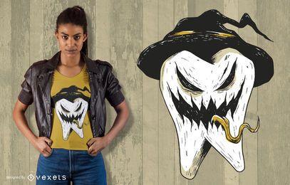 Design de camisetas de Halloween com dentes assustadores