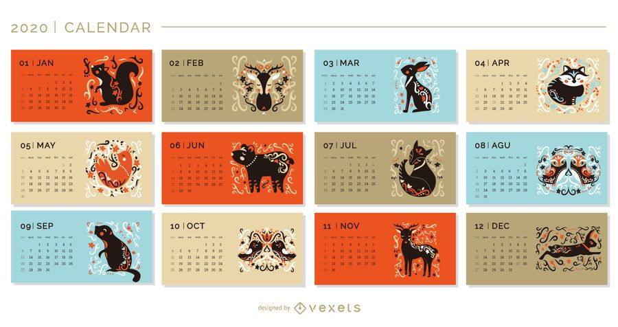 Animais artísticos calendário 2020