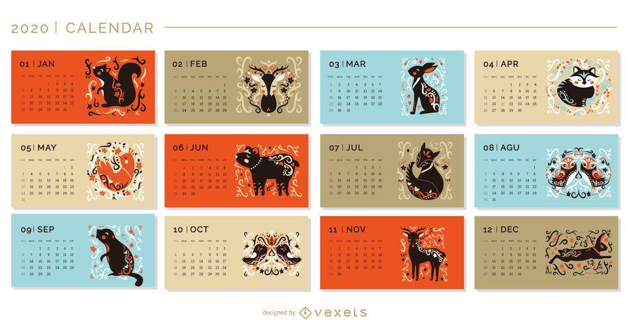 Calendário de animais artísticos 2020