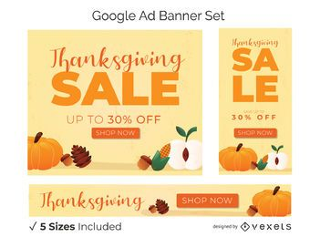 Thanksgiving promo banner set