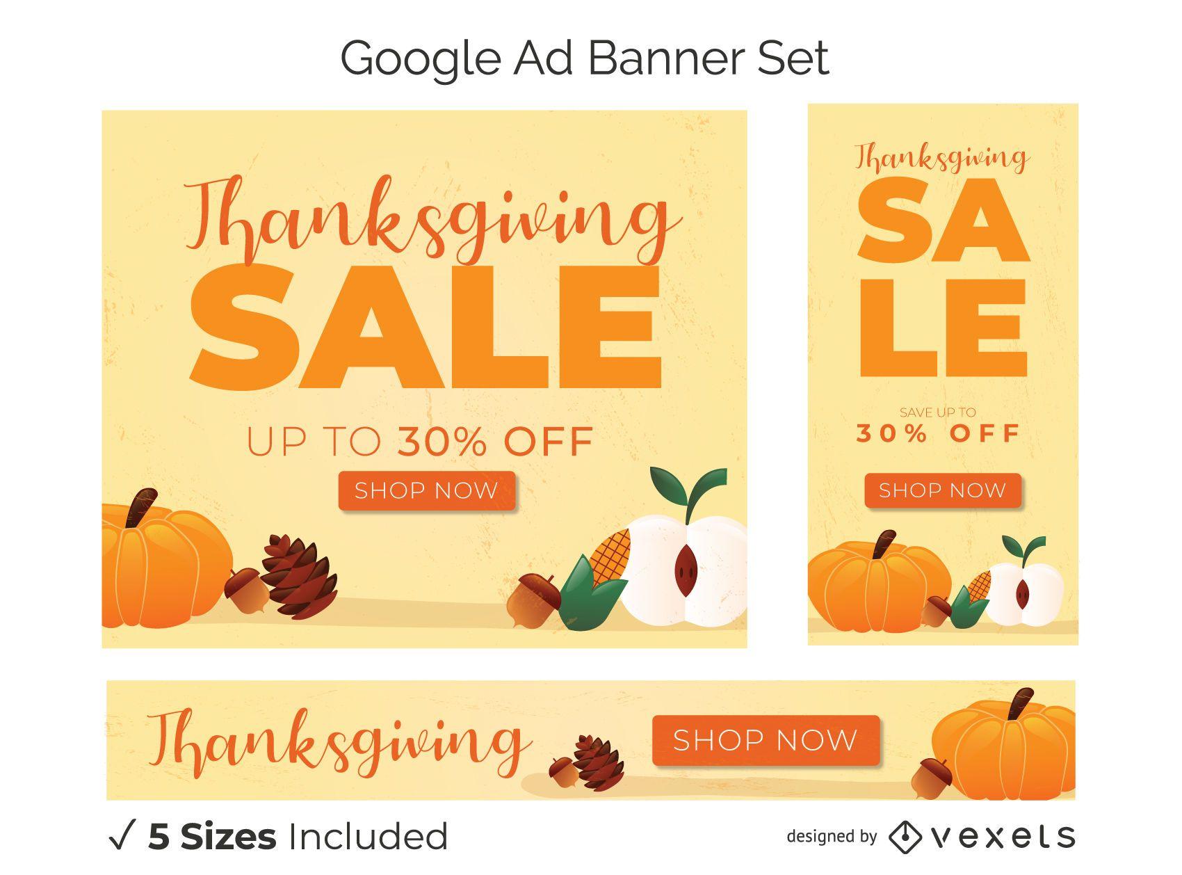 Conjunto de banner promocional de Ação de Graças