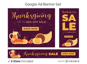 Thanksgiving discount banner set