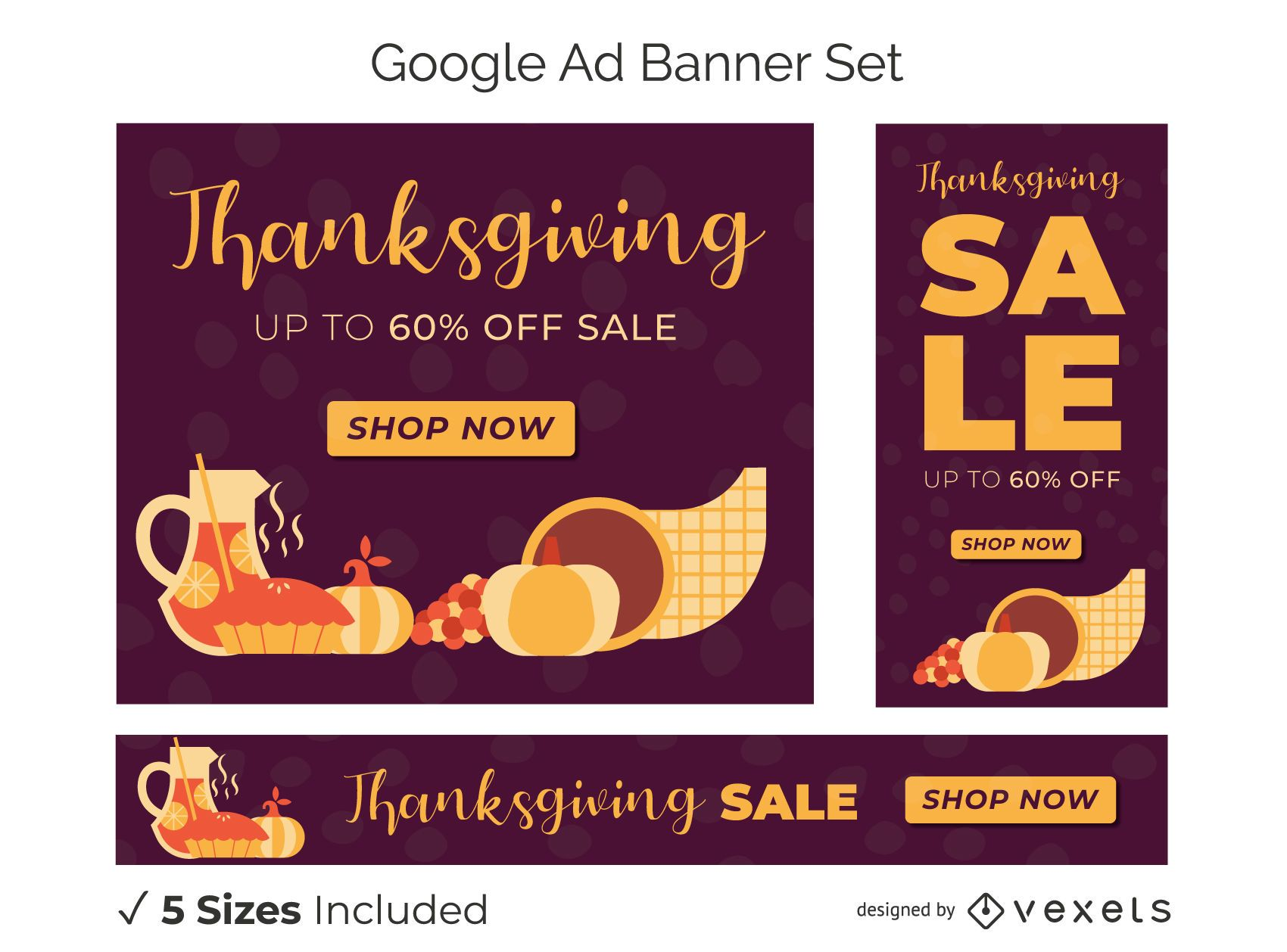 Thanksgiving discount banner set