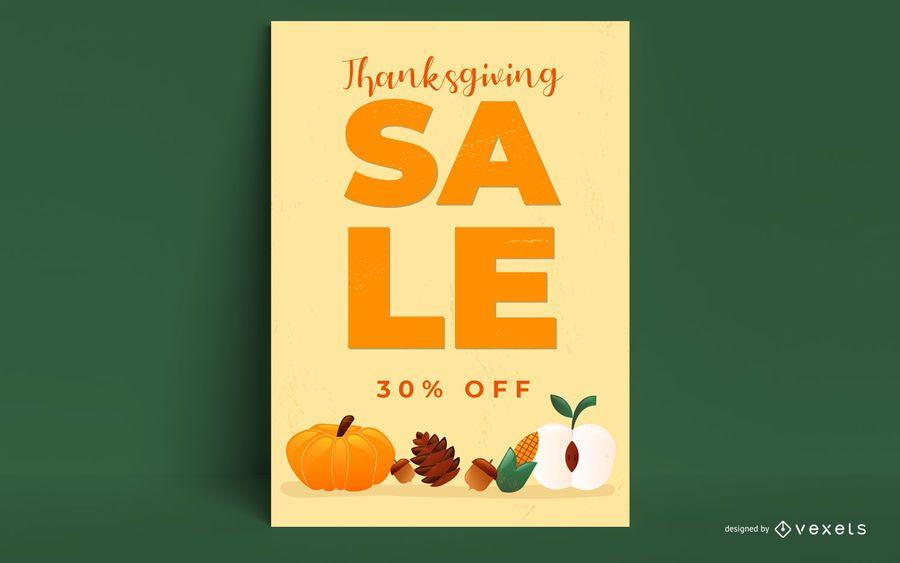 Design de cartaz promocional de ação de Graças