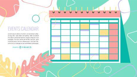 Calendário de eventos Design colorido
