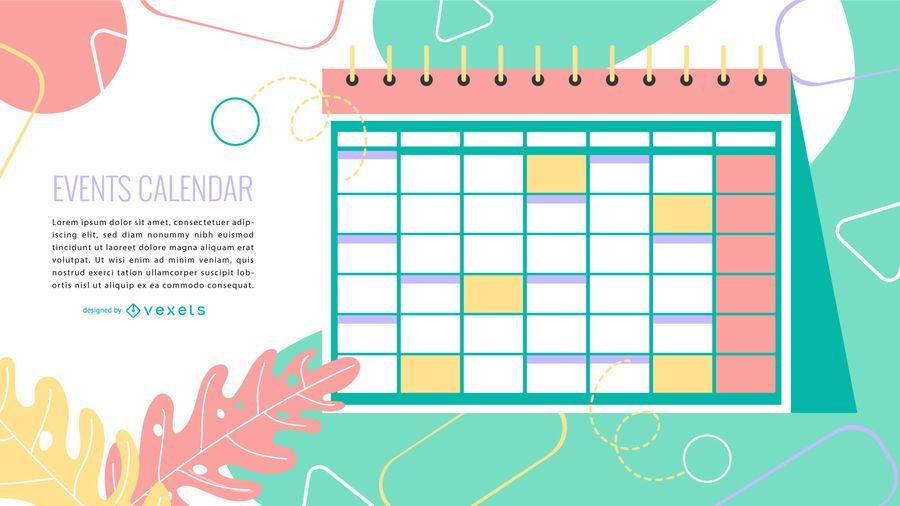 Design colorido do calendário de eventos