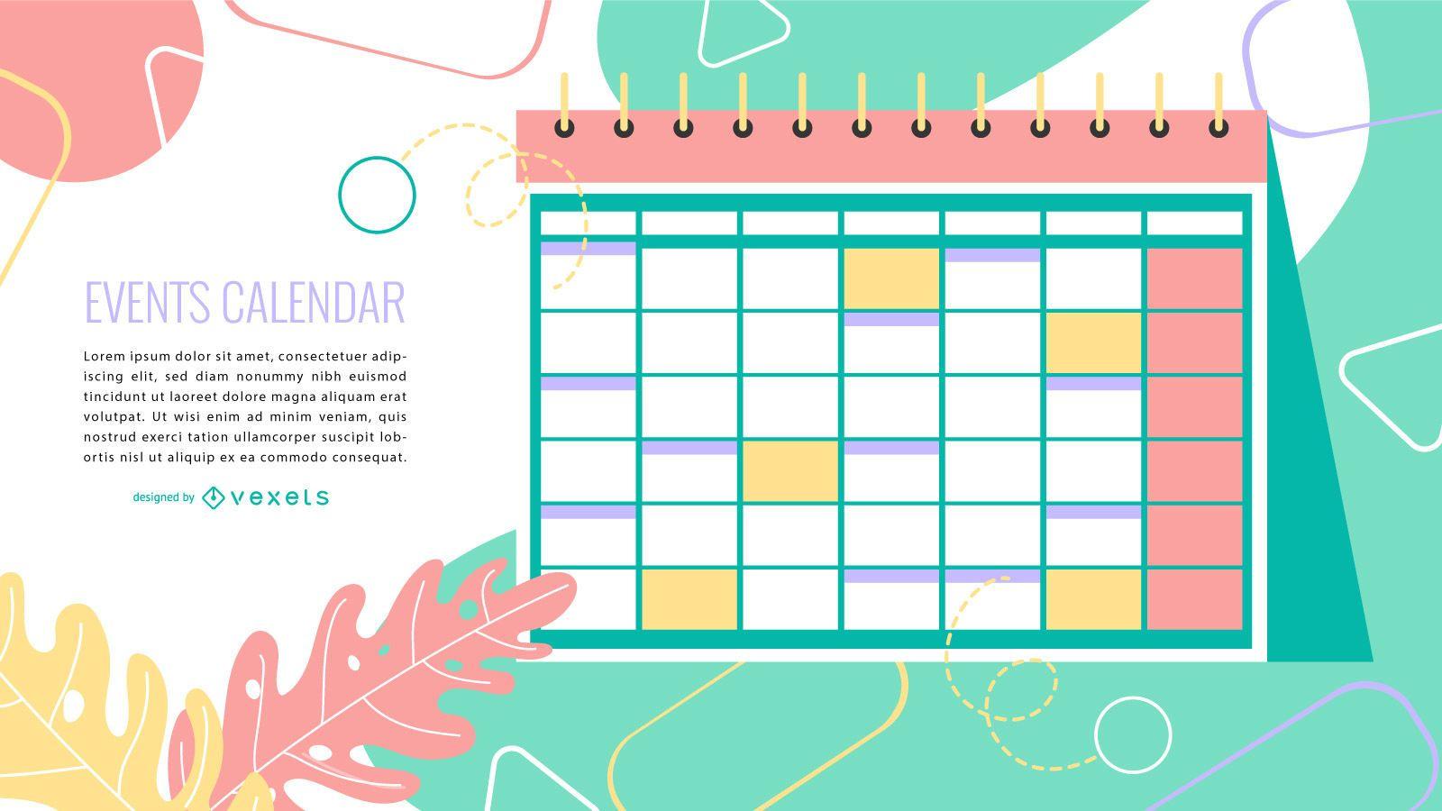 Event Calendar Colorful Design