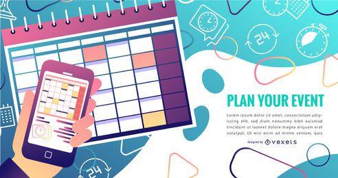 Design de gradiente do calendário de eventos