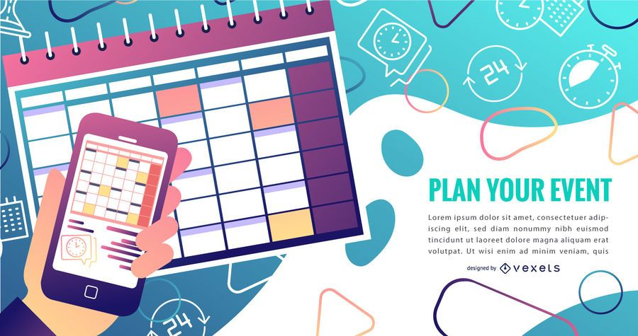 Event Kalender Farbverlauf Design