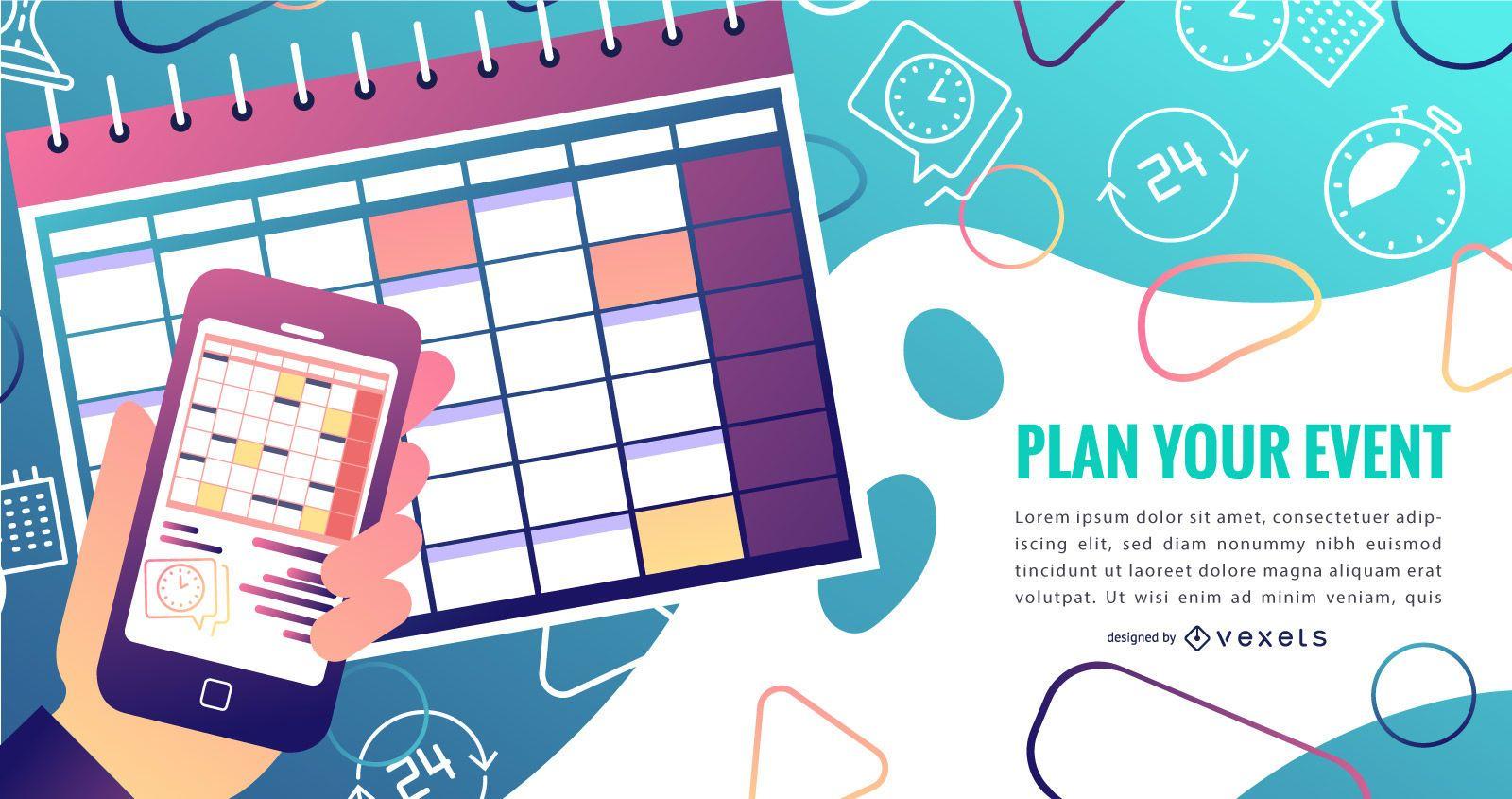 Event calendar gradient design