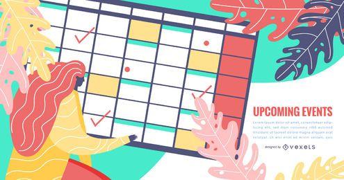 Design de calendário de organizador de eventos