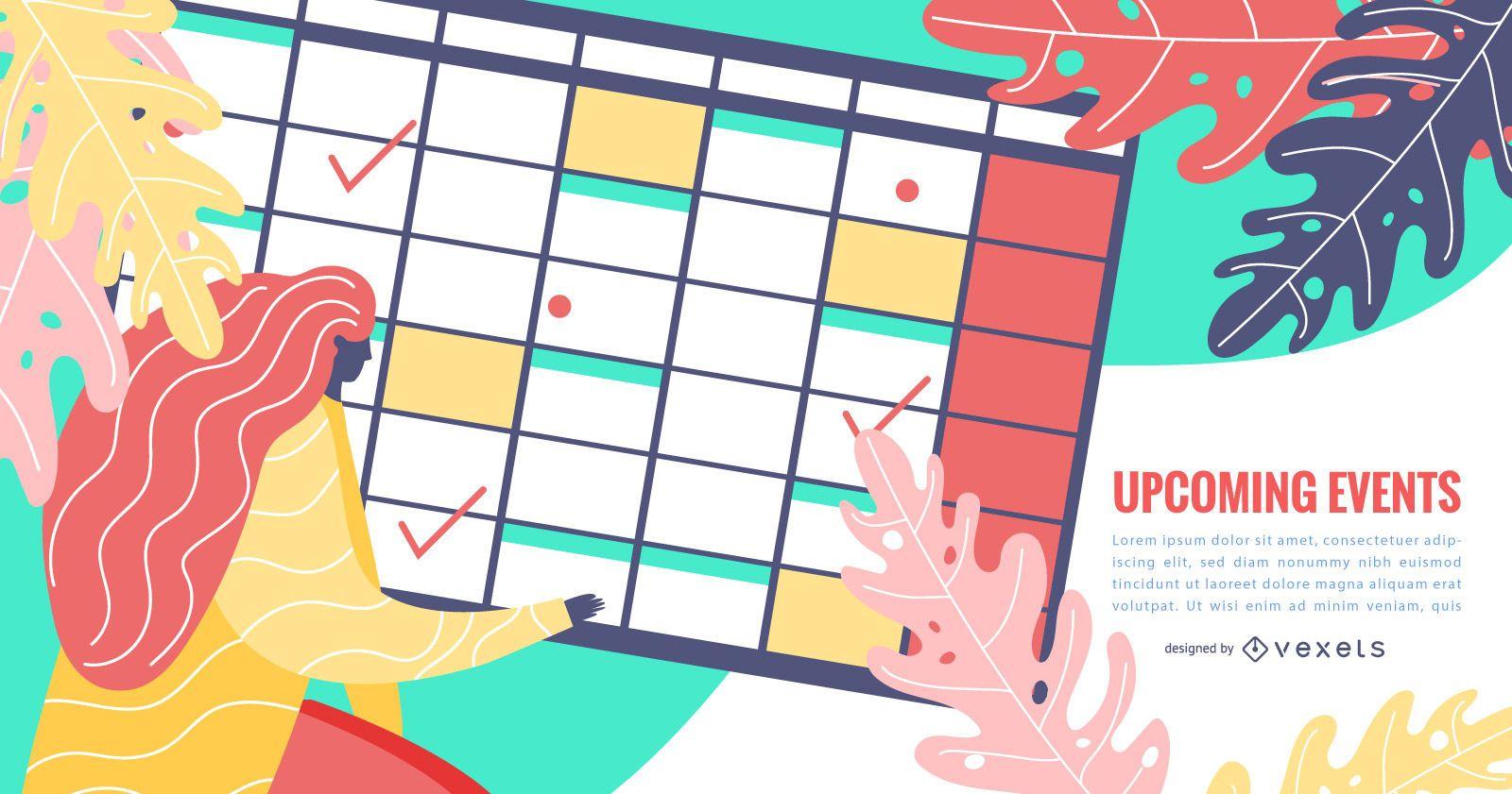Diseño de calendario de planificador de eventos