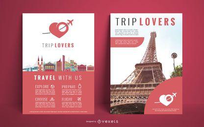 Diseño de cartel de agencia de viajes.