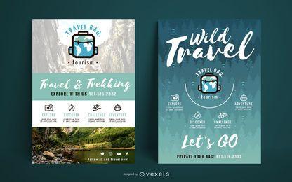Conjunto de modelo de viagens selvagens