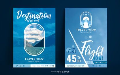 Conjunto de modelo de cartaz de viagens