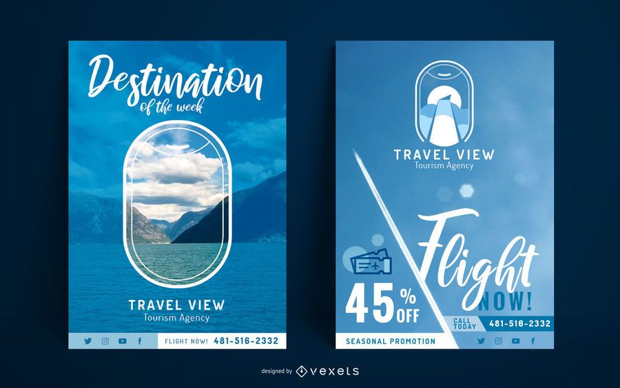 Travel poster template set