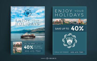 Plantilla de cartel de viajes de vacaciones