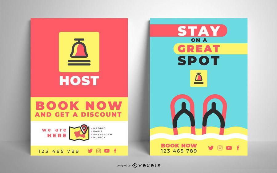 Plantilla de póster colorido hotel