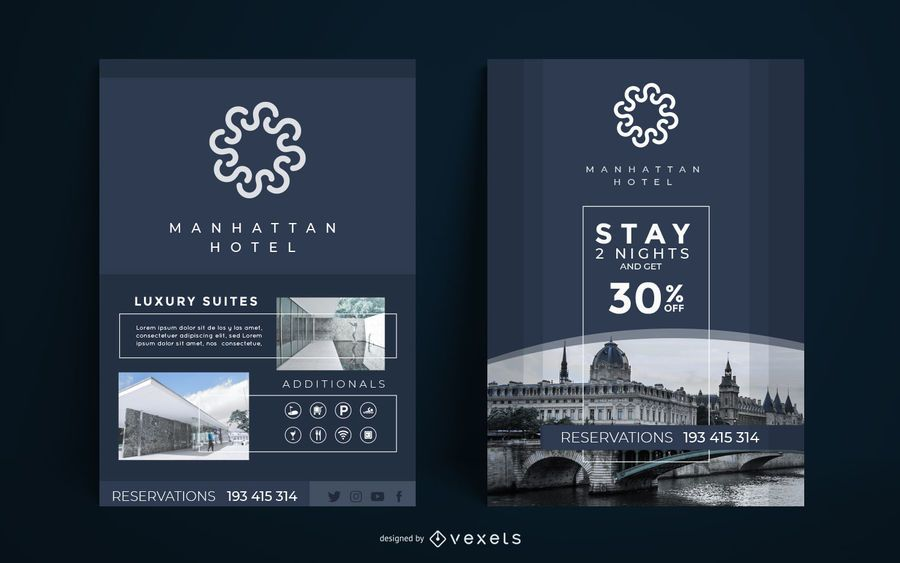 Modelo de cartaz elegante hotel