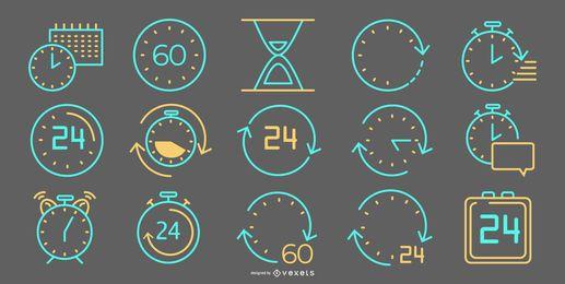 Colección de iconos de línea de tiempo