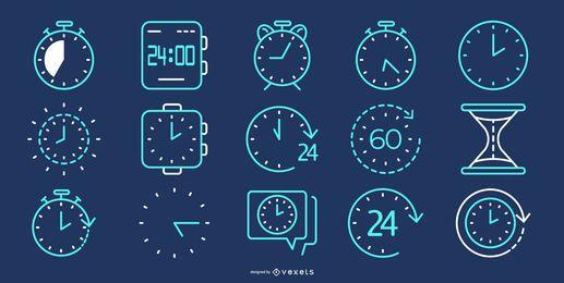 Colección de iconos de línea de tiempo azul