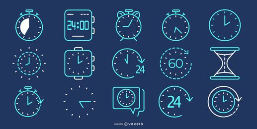 Time line blue icon collection