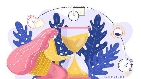 Diseño de ilustración abstracta de tiempo