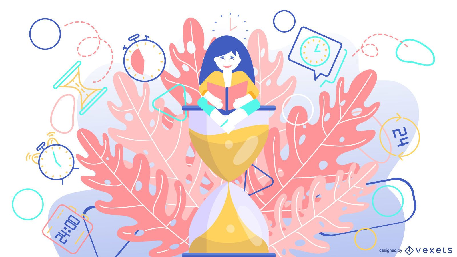 Time hourglass abstract illustration