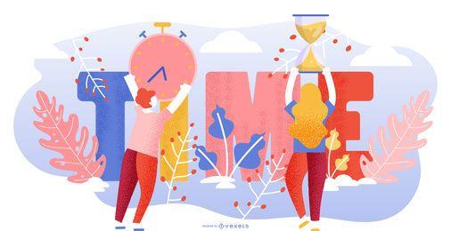Ilustración colorida abstracta de tiempo