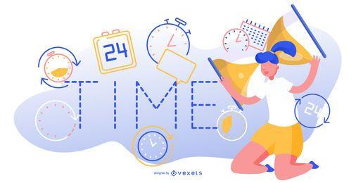 Ilustração editável abstrata de tempo