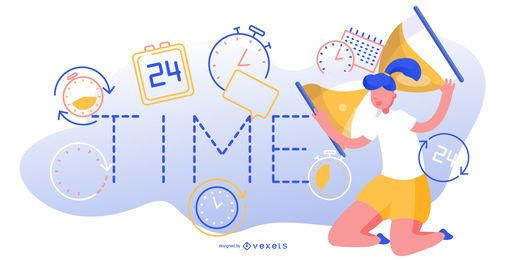 Ilustración editable abstracta de tiempo