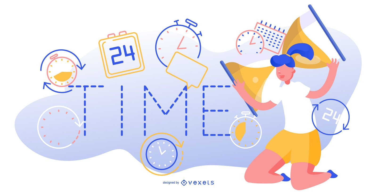 Time abstract editable illustration