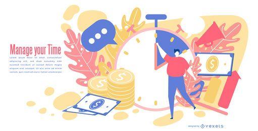 Design editável abstrato de tempo e dinheiro