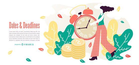 Desenho abstrato de prazos de tempo