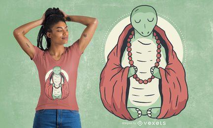 Diseño de camiseta de tortuga meditando